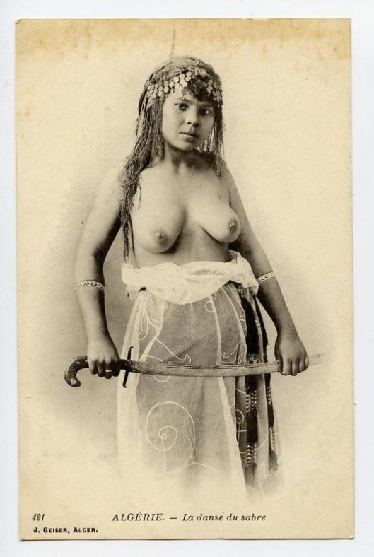 postcard of Algerian dancer as sword-woman