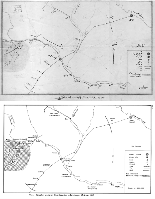 Map detailing the names and location of Armenian Resettlement Camps in Deir ez-Zor province, dated December 1916. Image found in the OTTOMAN ARCHIVES (from the ORIENTAL COLLECTION at the Bulgarian National Library, November 22, 2009)