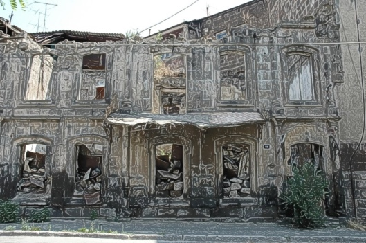 a ruined building in Gyumri, Armenia