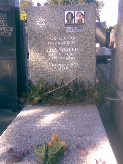 [note: Alejandra Pizarnik's grave at La Tablada, Buenos Aires]
