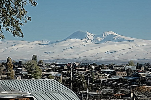 view from Gyumri of Mount Aragats